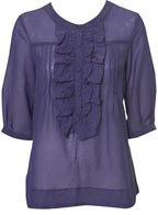3/4 Sleeve Frill Front Blouse