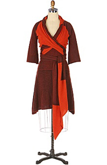 orange and brown wrap dress
