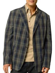 Cotton Plaid Two-Button Blazer