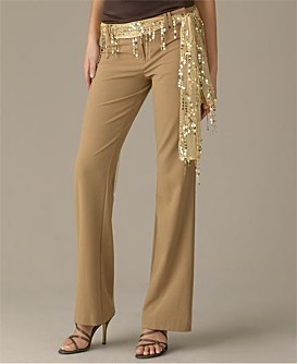 Camel-colored pants with sash