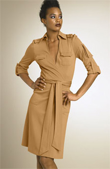 DVF khaki wrap dress