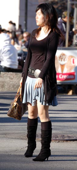 Omiru Street Style: Cardigan, Boots, Low Slung Belt, Short Skirt