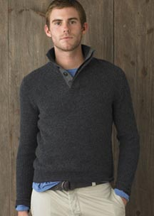 Fine Lambswool Admiral Button-Neck Sweater