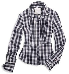 AE Plaid Tuxedo Pleat Shirt