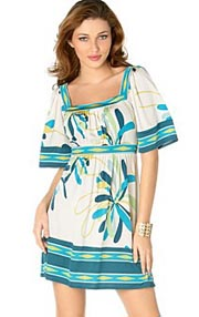 BCBG Square Neck Kimono Sleeved Dress