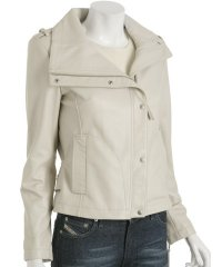 Pale Grey Lambskin \'Biker\' Short Jacket