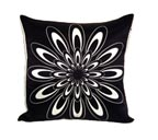 Black Sun Flower Nook Pillow at Satinbox