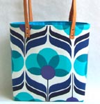 Blue Retro Flower Tote