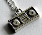 Boom Box Sterling Silver Charm Necklace