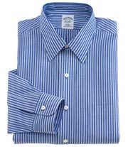 Non-Iron Broadcloth Ground Stripe Forward Point Dress Shirt