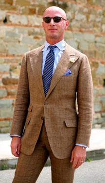 Brown Linen Suit. Photo Credit: The Sartorialist