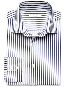 Fitted Ticking-Stripe Barrel Cuff Shirt