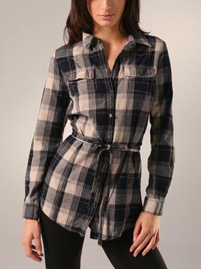 Charlotte Ronson Plaid Button Down Tunic