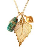 Chrysacola and Birch Leaf Necklace