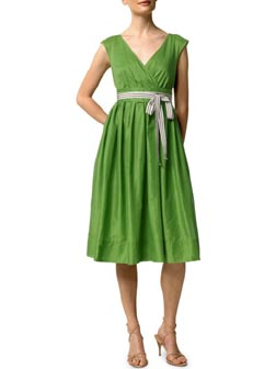 Cotton ribbon-tie dress