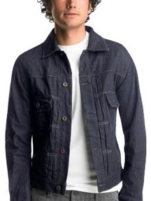 Dark Pleated Jean Jacket