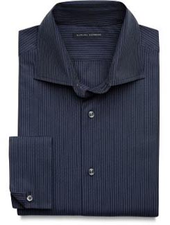 Fitted Pinpoint-Stripe French Cuff Shirt