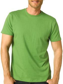 Green Fitted Cotton Crew