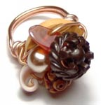 Hand Wrapped Vintage Gemstone Sculpture Ring