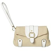 Issac Mizrahi Clutch Handbag in Tan/White