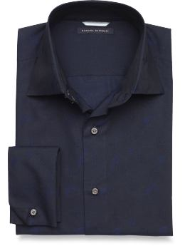 Navy Blue Jacquard French Cuff Shirt