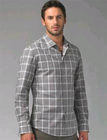 John Varvatos Cotton Plaid Sportshirt