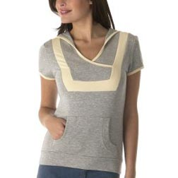 Jovovich-Hawk Short Sleeve Hoodie in Heather Grey