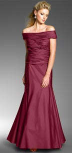 JS Collections Off Shoulder Shirred Taffeta Gown