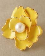 Kenneth Jay Lane Oversized Enamel/Pearl Flower Ring