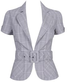 Leila Plaid Short Sleeved Blazer