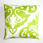 Lime Green Damask Pillow Cover
