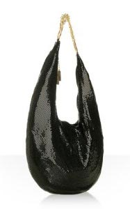 Whiting and Davis Black Metal Mesh Chain Hobo