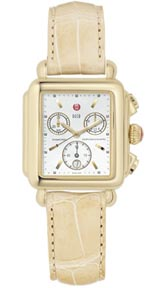 Michele Watches Deco Non Diamond Gold White Mop Camel Alligator