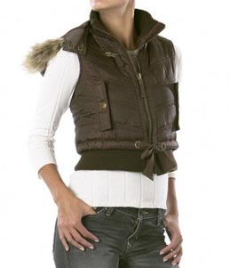 Mossimo Puffer Vest with Faux-Fur Trim