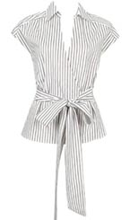 Nautical Stripe Woven Top with Bow