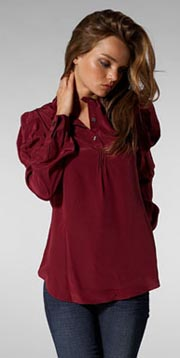 NAVE Pin Tuck Collar Blouse in Bordeaux