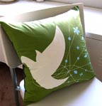 Olive Green Bride Bird Pillow