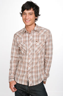 Taos Long Sleeve Brown Plaid Western