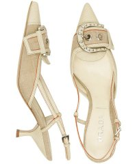 Prada Natural Linen Snakeskin Buckle Slingbacks