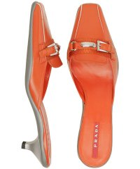 Prada Sport Orange Leather Buckle Mules