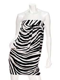 Privee Strapless Zebra Print Dress