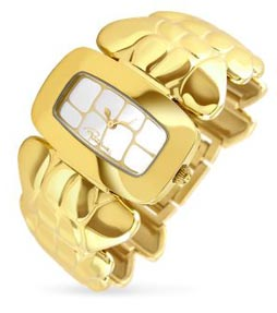 Roberto Cavalli Coco Gold Plated Croco-style Bracelet Dress Watch