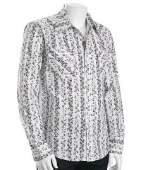 Rogan navy print cotton snap-front shirt