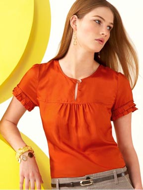 Silk Ruffle Sleeve Top