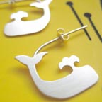 Silver Whale Hoop Earrings