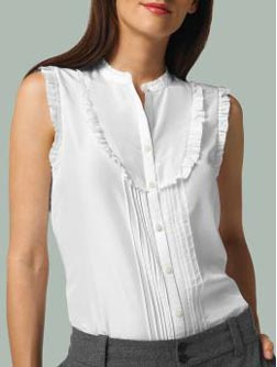 Sleeveless Ruffled Bib Top