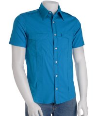 Theory Blue \'Bayonne\' Short Sleeve Shirt