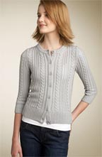 Tildon Cable Knit Pointelle Cardigan