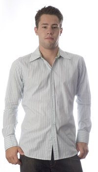 Trovata Gatsby Formal Shirt in Light Green Stripes