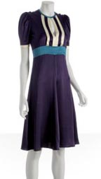Tufi Duek Purple Striped Satin Puff Sleeve Dress